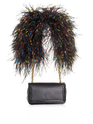 Artemis leather & ostrich feather bag