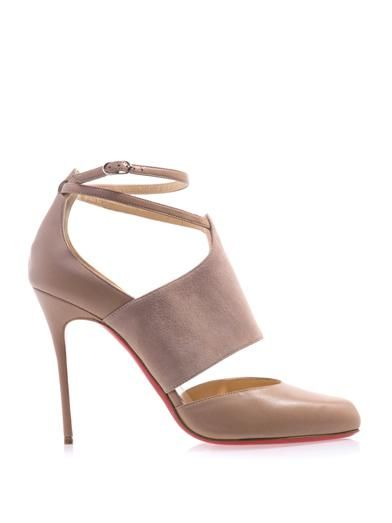 Christian Louboutin Trotter 100mm leather and suede pumps