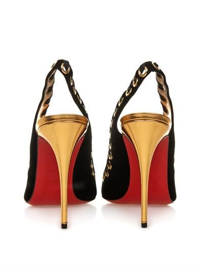 Christian Louboutin Ostri Sling 100mm suede pumps