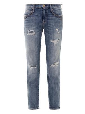 Fling mid-rise embellished boyfriend jeans