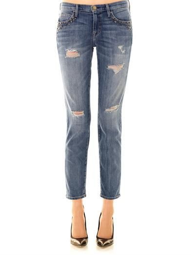 Current/Elliott Fling mid-rise embellished boyfriend jeans