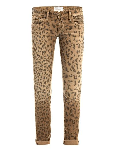 Current/Elliott Leopard corduroy low-rise skinny jeans