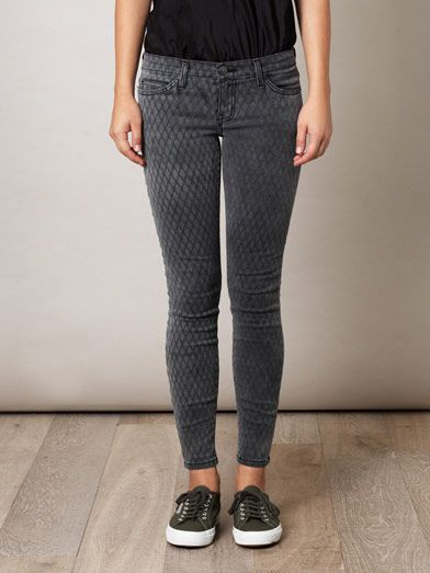 Current/Elliott Fishnet low-rise skinny jeans