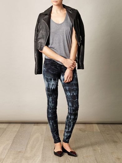 Current/Elliott Tie-dye low-rise skinny jeans