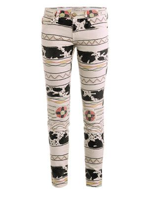 Tribal-print low-rise skinny jeans