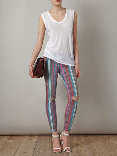 Current/Elliott Gypsy stripe stiletto mid-rise skinny jeans