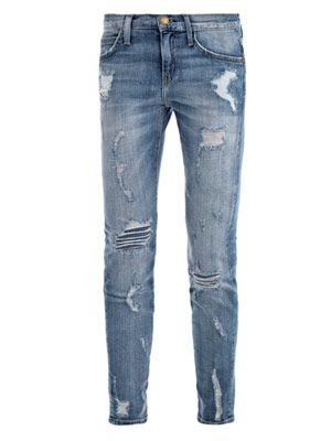 Stiletto mid-rise distressed skinny jeans