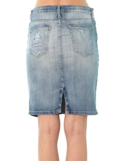 Current/Elliott The Stiletto denim pencil-skirt