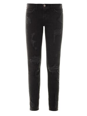 The Stiletto distressed mid-rise skinny jeans