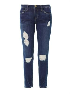 The stiletto mid-rise distressed skinny jeans