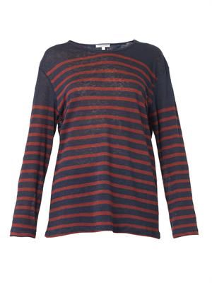 The Long Sleeve striped linen T-shirt