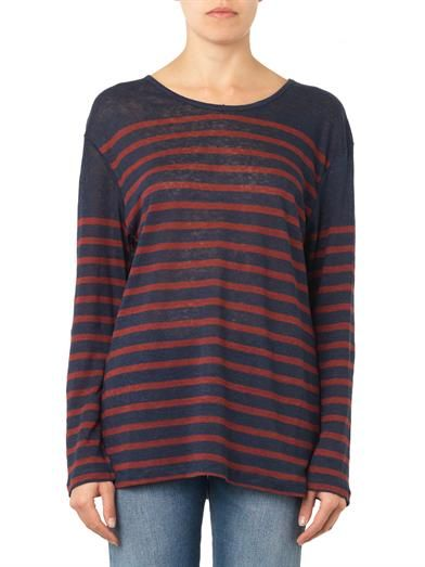 Charlotte Gainsbourg X Current/Elliott The Long Sleeve striped linen T-shirt