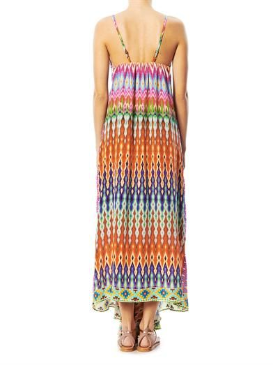 Camilla Zigzag-print beaded maxi dress