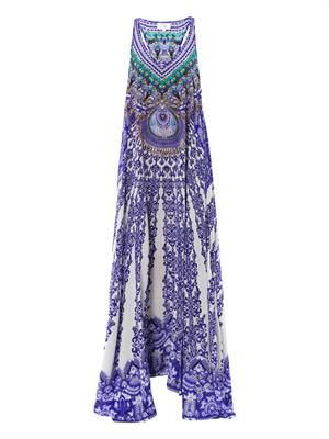 Embellished printed maxi dress