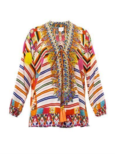 Camilla Embellished lace-up kaftan tunic
