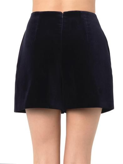 Carven High-waisted velvet shorts
