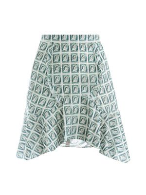 Stamp-print silk skirt