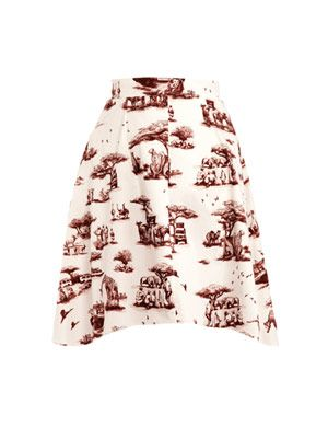 Safari-print A-line skirt
