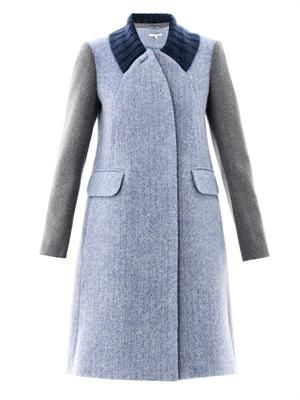 Contrast sleeve wool coat