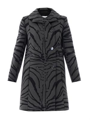 Zebra-print textured coat