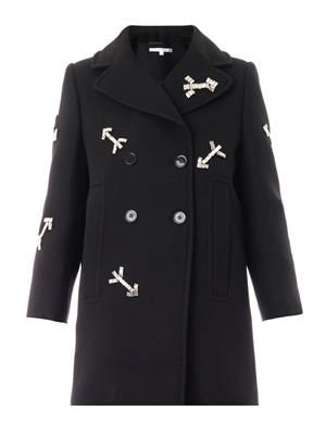 Crystal-arrow wool coat