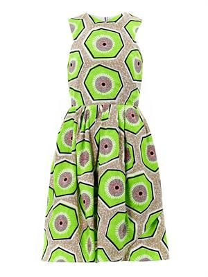 Kiwi-print day dress