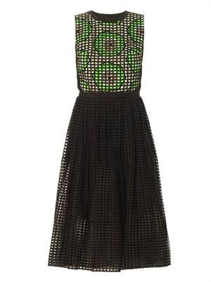 Broderie anglasie kiwi-print dress