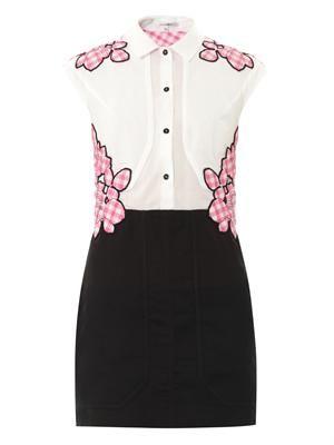 Gingham flower-appliqué dress