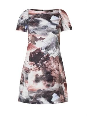Wave-print shift dress