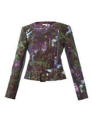 Jungle-print crepe biker jacket