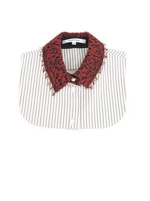 Lace and striped-cotton collar