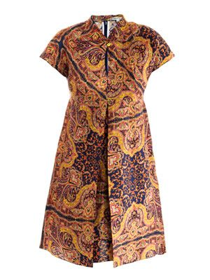 Shantung paisley-print dress