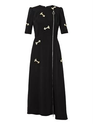 Embroidered-arrow zip dress