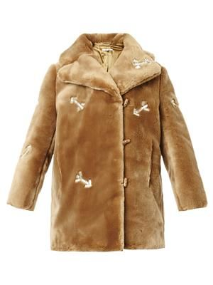 Crystal-arrow faux-fur coat