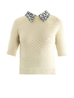 Stamp-print collar sweater