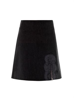 Lace-trim flannel mini-skirt