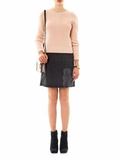 Carven Lace-trim flannel mini-skirt