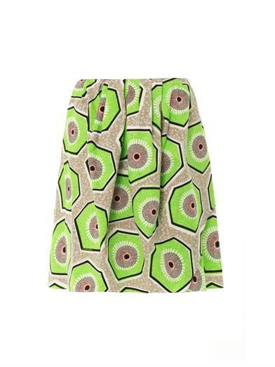 Carven Kiwi-print cotton skirt