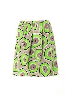 Kiwi-print cotton skirt