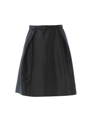 Cotton and silk-blend belted skirt