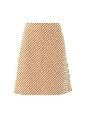 Zigzag tweed A-line skirt