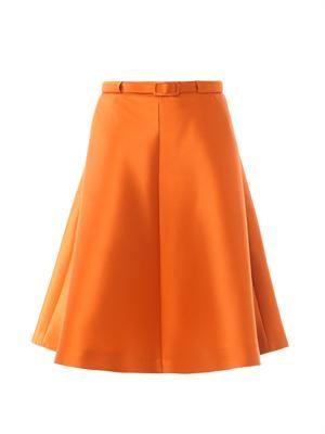 Satin belted full skirt