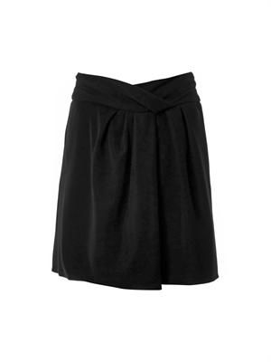Twist-front crepe skirt