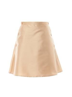 Silk-crepe A-line skirt