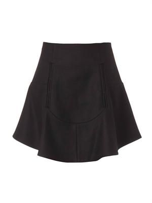 Compact-wool flared skirt