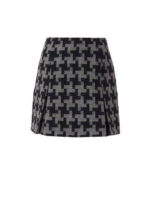 Oversized hound's-tooth wool skirt
