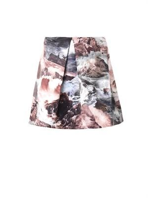 Wave-print pleated skirt