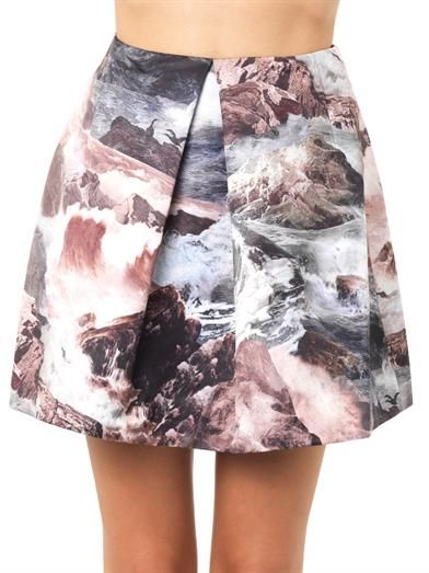 Carven Wave-print pleated skirt