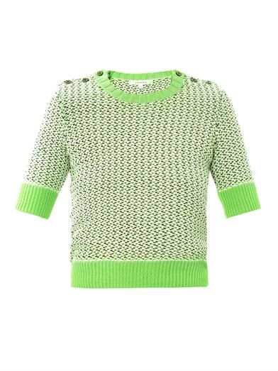 Carven Tweed-stitch cropped sweater
