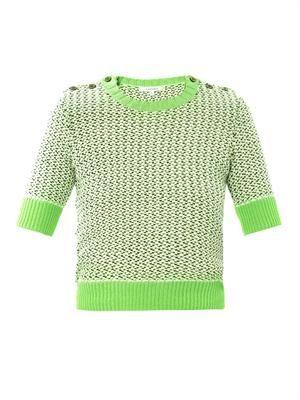 Tweed-stitch cropped sweater